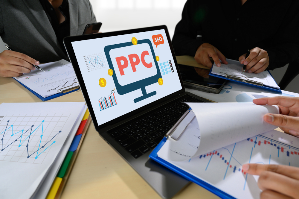 PPC strategy on laptop.