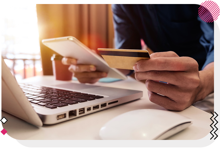 Customer entering their credit card details for e-commerce shopping.