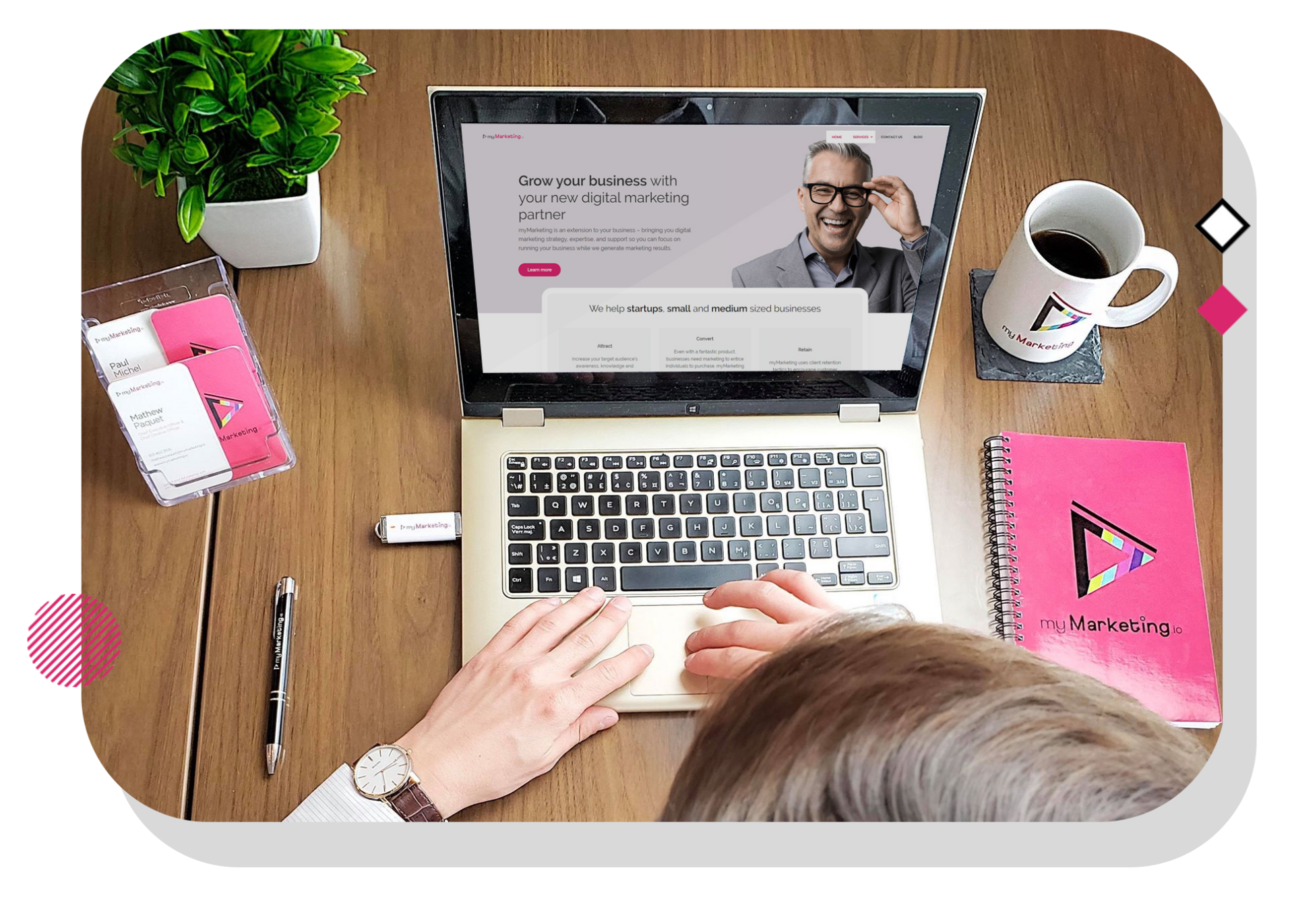 myMarketing website homepage and branding materials.