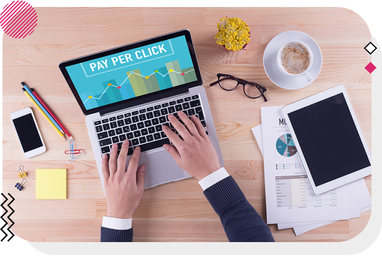 Pay per click marketing strategy displayed on laptop screen.