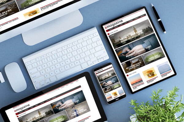 Emagazing website examples on various devices.