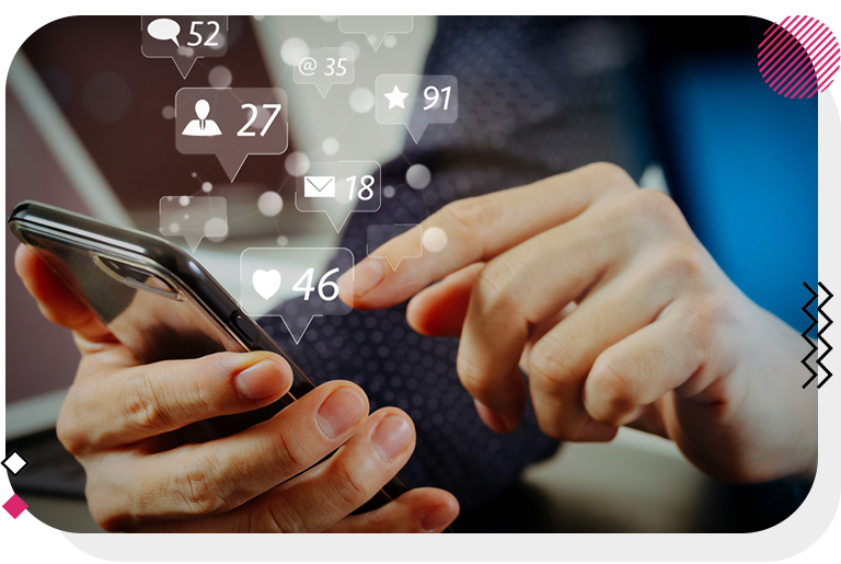 Mobile phone receiving notifications from social networks.
