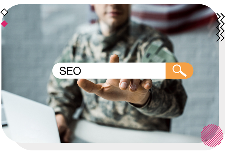 Man about to touch search engine bar with SEO in the middle